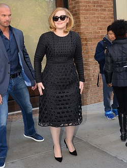 Adele in vintage style lace dress