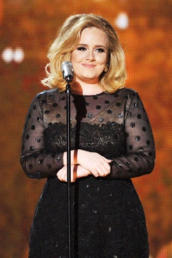 Adele in vintage style evening polka dress
