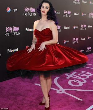 Katy Perry 50s red velvet swing dress twirl