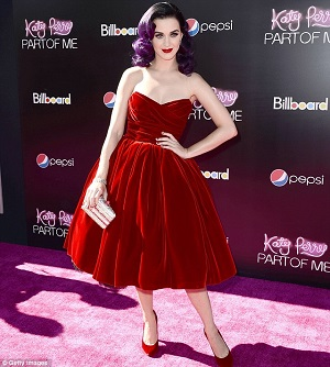 Katy Perry 50s red velvet swing dress