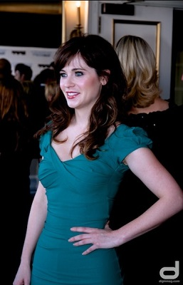 Zooey Deschanel vintage teal dress