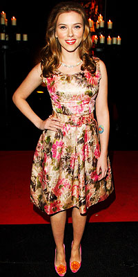 Scarlett Johansson in a vintage print floral dress