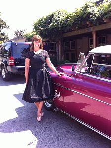 Angel wearing her Vivian Black Lace Vintage Dress