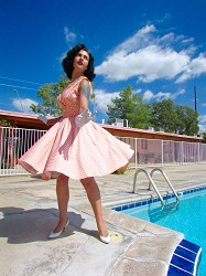 Lark vintage inspired polka dress by the pool 3