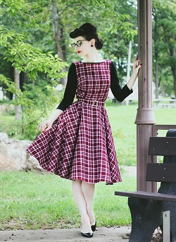 Madison Steward in Audrey red tartan retro dress