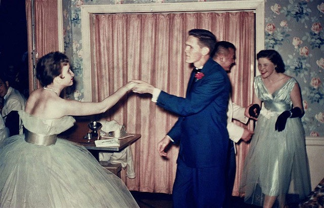 1950s couple dancing at party